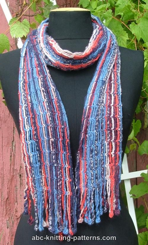 Abc Knitting Patterns Waterfall Crochet Chain Scarf With Fringe