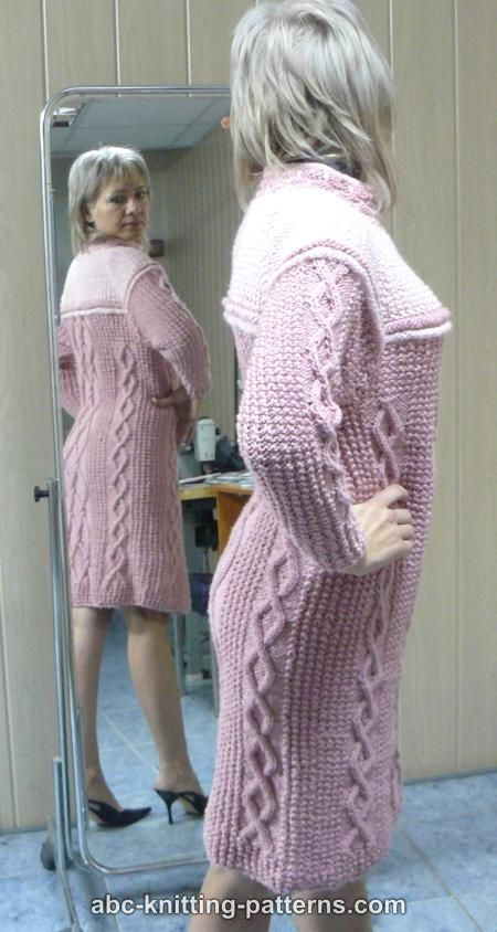 Knitting Pattern Cable Dress : ABC Knitting Patterns - Seamless Cable Dress