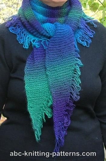 Small Garter Stitch Triangular Shawl with Unraveled Fringe (Baktus)