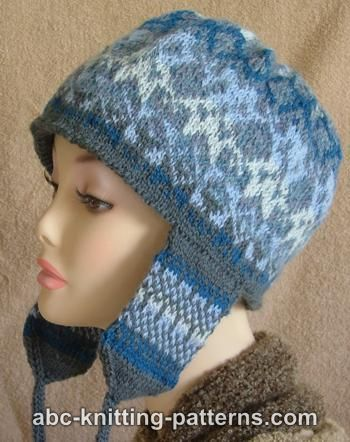ABC Knitting Patterns - Fair Isle Earflap Hat