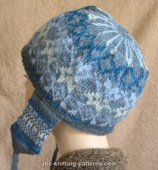 Fair Isle Knit Hat Pattern Free : ABC Knitting Patterns - Fair Isle Earflap Hat