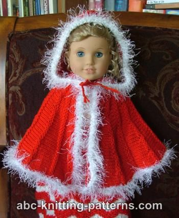 ABC Knitting Patterns - American Girl Doll Cape with Hood