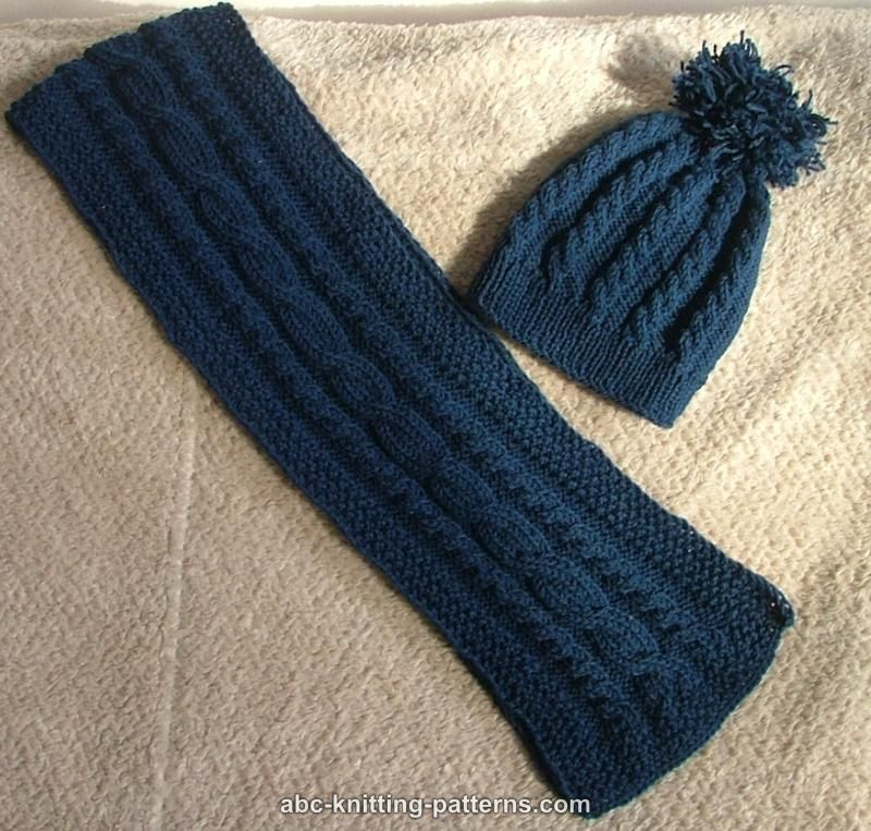 Cable Knit Scarf Pattern : Vintage Knitting Pattern PDF Aran Sweater Hat Scarf And Gloves Cable