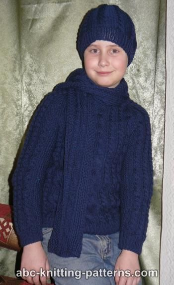 Knitting Pattern Sweater Boy : ABC Knitting Patterns - Cable Raglan Sweater for a Boy