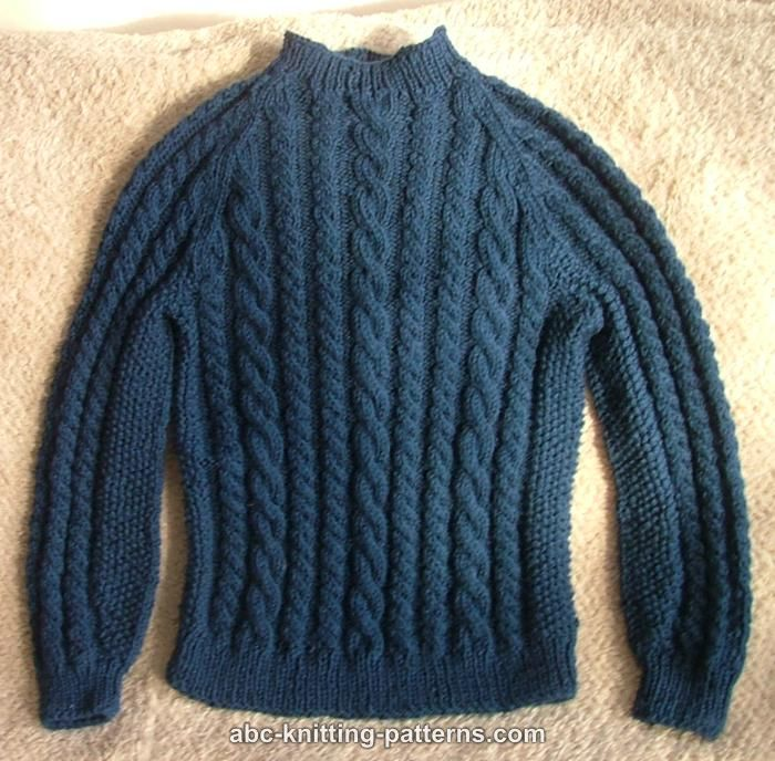 ABC Knitting Patterns - Cable Raglan Sweater for a Boy