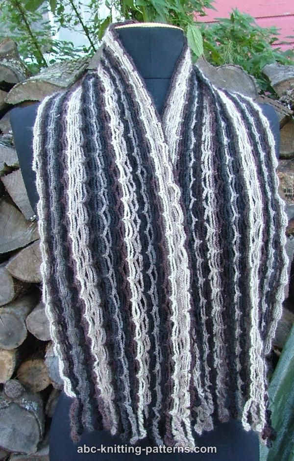 ABC Knitting Patterns - Chain Scarf with Crochet Fringe V. 2.0