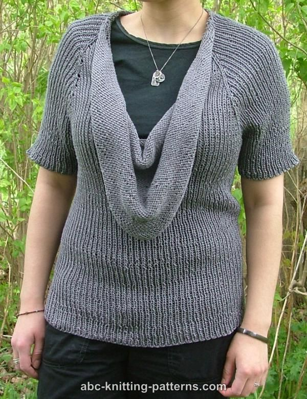 Abc Knitting Patterns Top Down Cowl Raglan Sweater