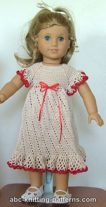 ABC Knitting Patterns - American Girl Doll Summer Raglan Dress