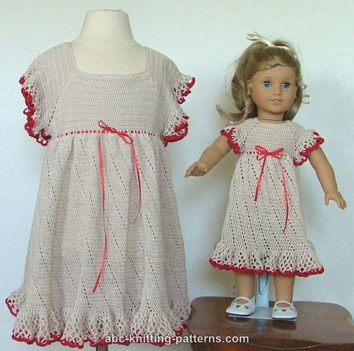 Knitting Pattern Summer Dress : ABC Knitting Patterns - American Girl Doll Summer Raglan Dress