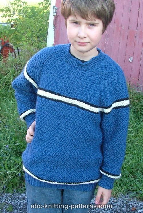 Knitting Patterns For Boy Sweaters : ABC Knitting Patterns - Boys Top-Down Raglan Sweater with Stripes