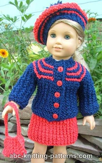 Free Knitting Patterns For American Dolls : ABC Knitting Patterns - American Girl Doll Vintage Outfit (Cardigan and Skirt)
