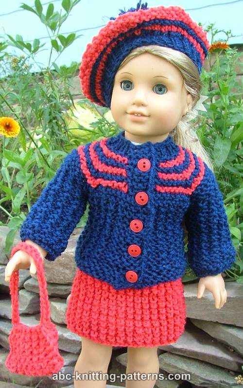 ABC Knitting Patterns - American Girl Doll Vintage Outfit (Cardigan ...
