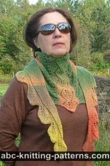Autumn Leaves Small Triangular Shawl (Baktus)