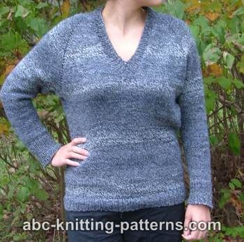 Free Crochet Pattern V Neck Pullover : ABC Knitting Patterns - Top Down V-Neck Raglan Sweater