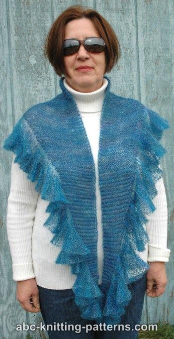 Abc Knitting Patterns Blue Dreams Small Ruffle Shawl