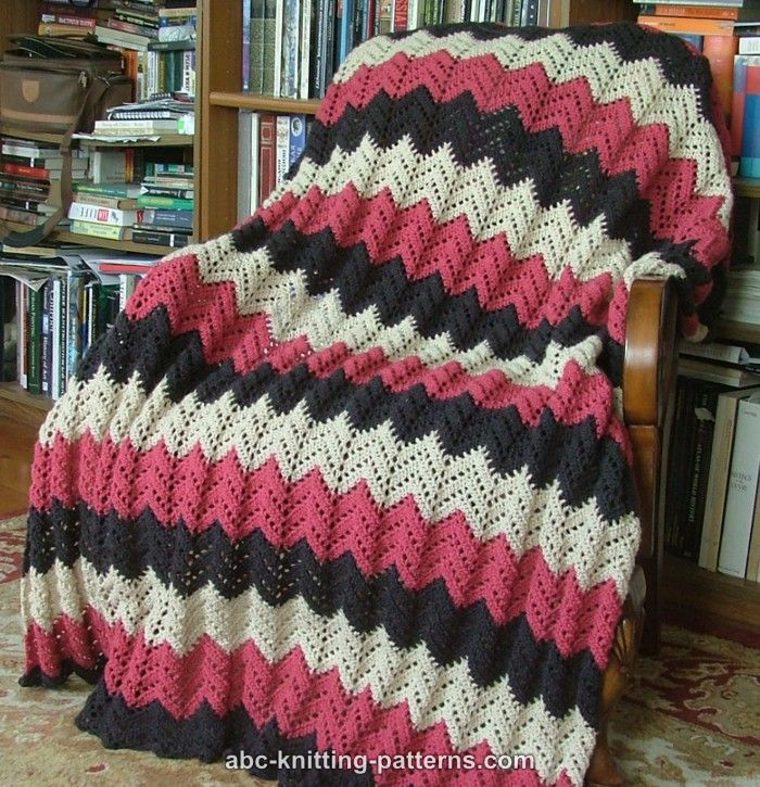 Free Pattern For Single Crochet Ripple Afghan : ABC Knitting Patterns - Lace Ripple Afghan
