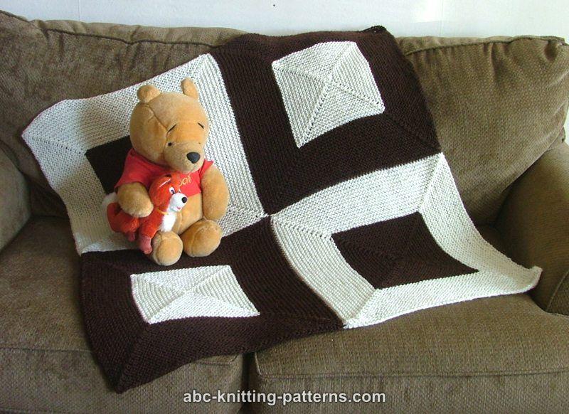 fc362f203ef5 ABC Knitting Patterns - Square Dance Garter Stitch Baby Blanket