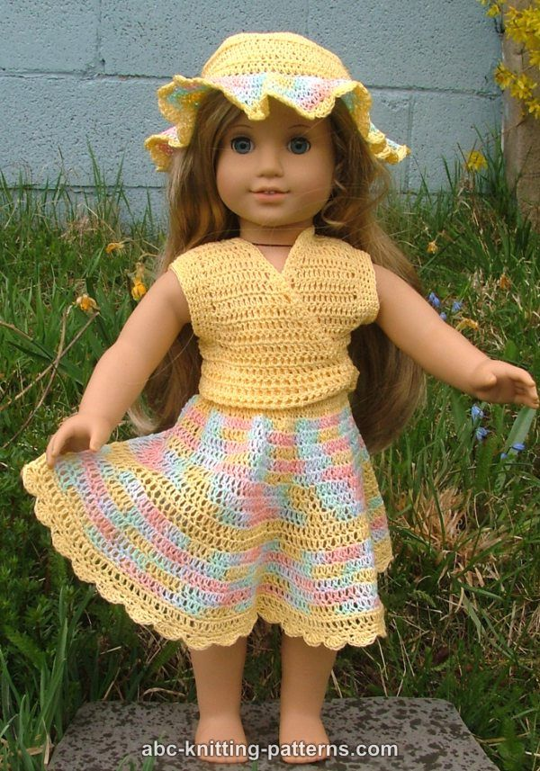 ABC Knitting Patterns - American Girl Doll Buttercup Hat