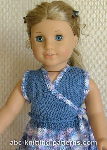 American Girl Doll Sleeveless Wrap Top with Applied I-Cord