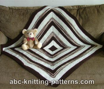 Square Stripes Garter Stitch Baby Blanket