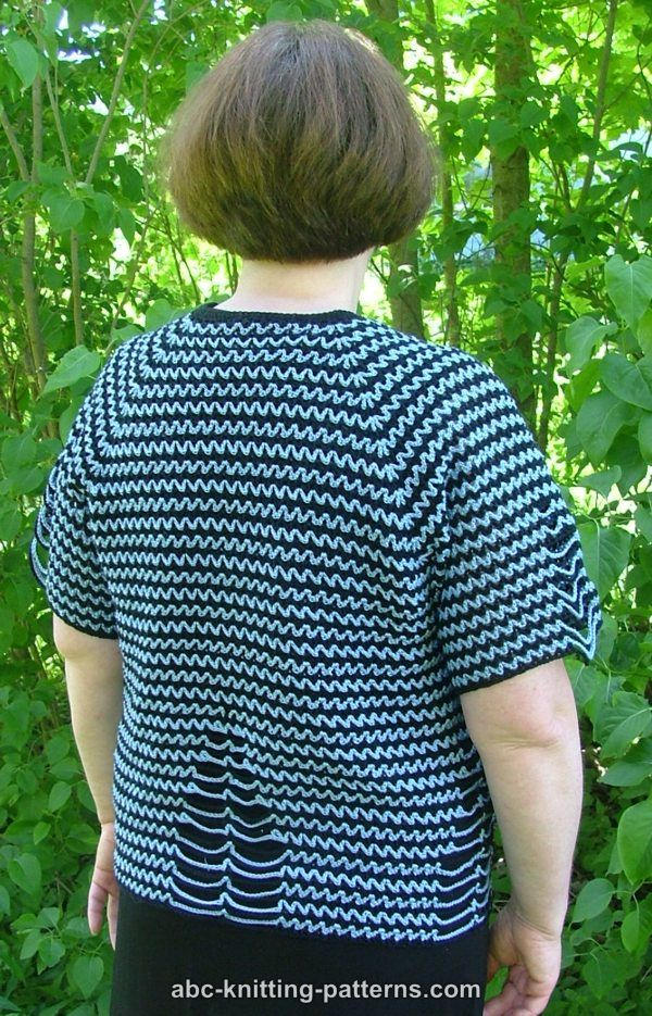 Abc Knitting Patterns Two Tone Raglan Top Down Summer Cardigan