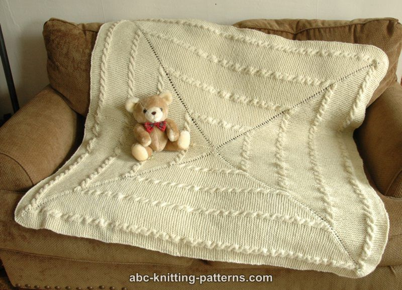 Garter Stitch Knitting Pattern Baby Blanket : ABC Knitting Patterns - Garter Stitch Baby Blanket with Cables