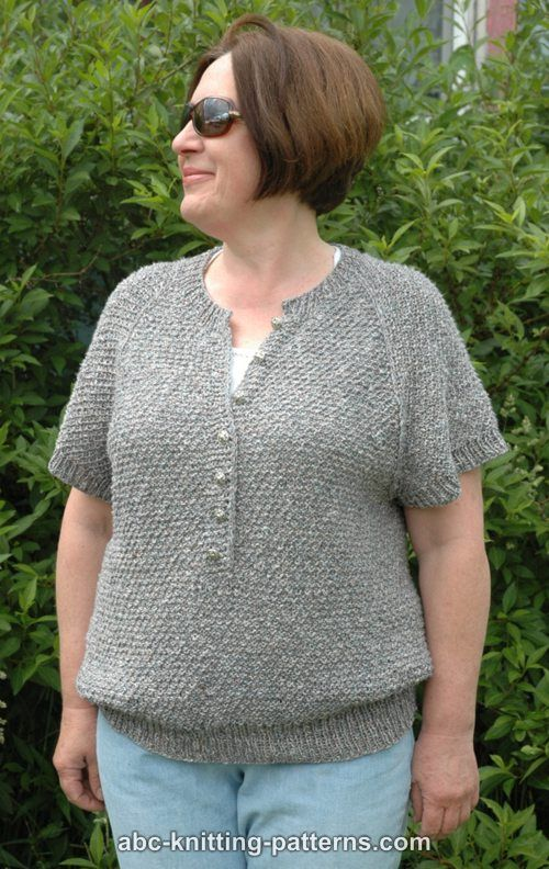 Abc Knitting Patterns Summer Night Short Sleeve Raglan Henley
