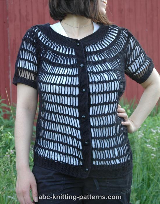Knitting Pattern Yoke Cardigan : ABC Knitting Patterns - Sideways Chain Cardigan with Round Yoke