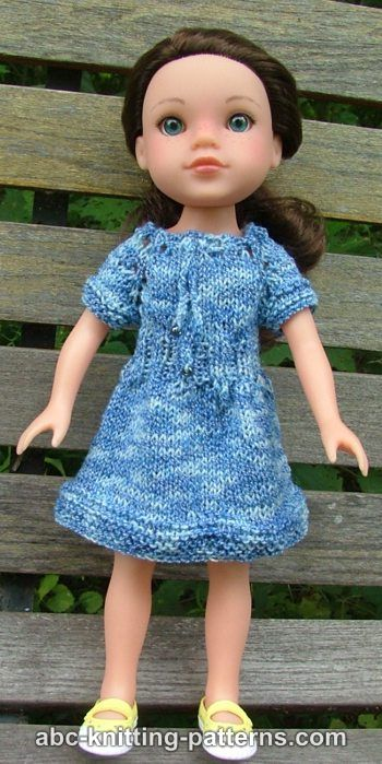 Really Simple Knitting Patterns For Dolls Clothes : ABC Knitting Patterns - Dells Drawstring Raglan Summer Dress