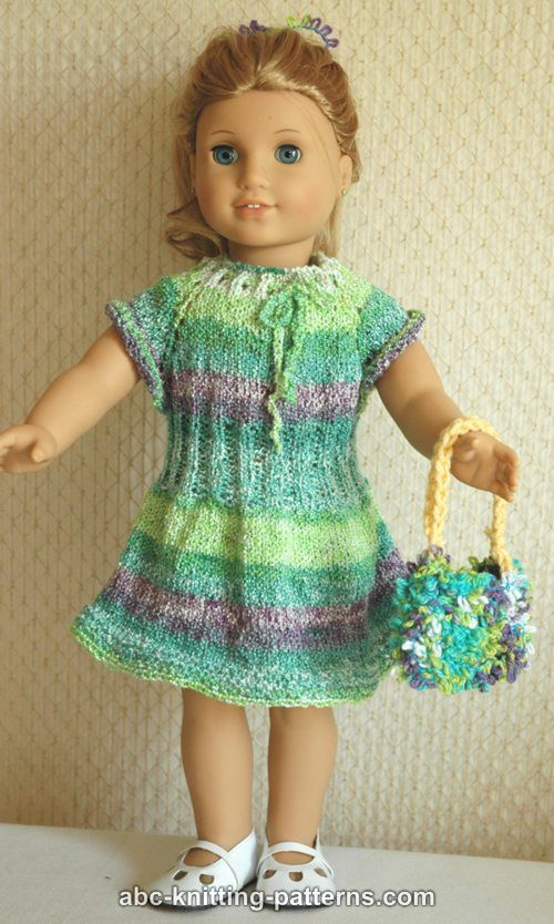 Free Knitting Patterns For Doll Clothes 18 Ins : ABC Knitting Patterns - American Girl Doll Drawstring Raglan Summer Dress