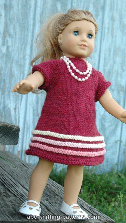 Abc Knitting Patterns American Girl Doll Raglan Banded Dress