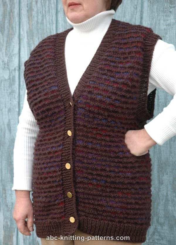 Knitting Vest Patterns : ABC Knitting Patterns - Two-Tone Seamless Vest