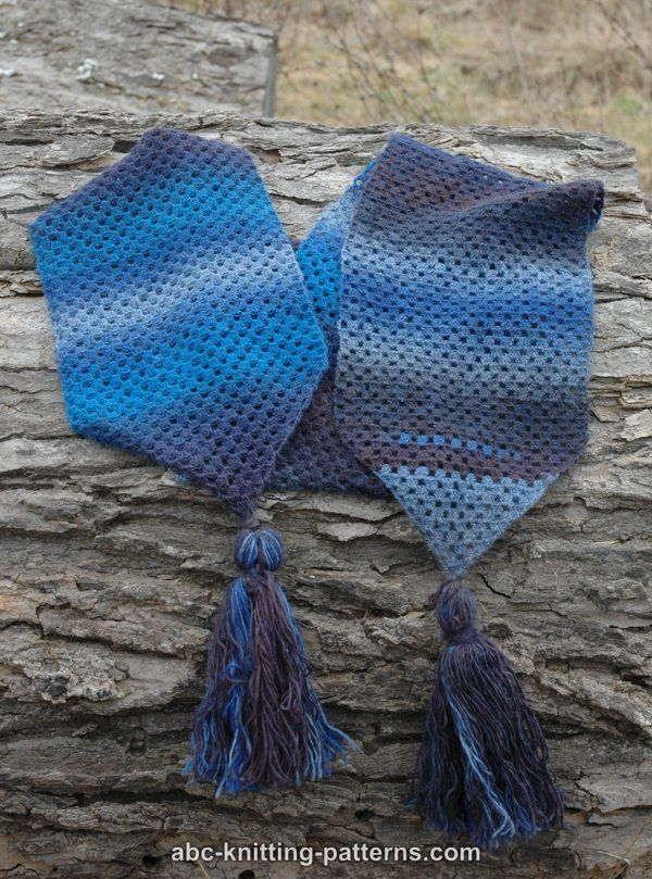 ABC Knitting Patterns - Tassels and Stripes Scarf