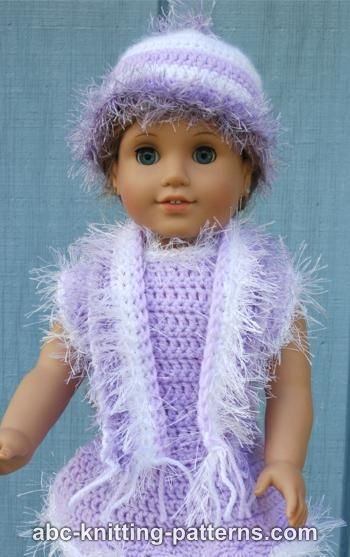 Abc Knitting Patterns American Girl Doll Fun Fur Hat And Scarf