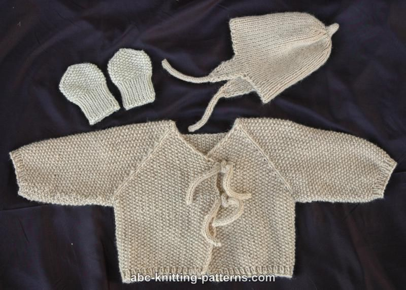 Abc Knitting Patterns Easy Seamless Baby Cardigan With I Cord Ties