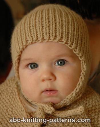 Knitting Pattern For Baby Pilot Hat : ABC Knitting Patterns - Ribbed Baby Earflap Hat
