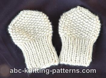 Abc Knitting Patterns Seed Stitch Baby Mittens