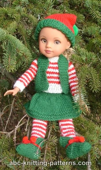 Abc Knitting Patterns Santa S Elf Outfit For 14 Inch