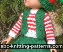 Santa's Elf Outfit for 14 inch Dolls: Striped Sweater