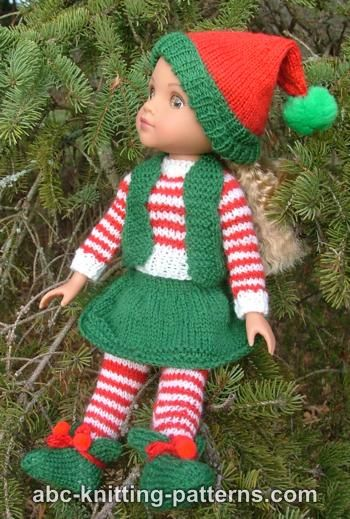 ABC Knitting Patterns - Santa's Elf Outfit for 14 inch Dolls: Tights