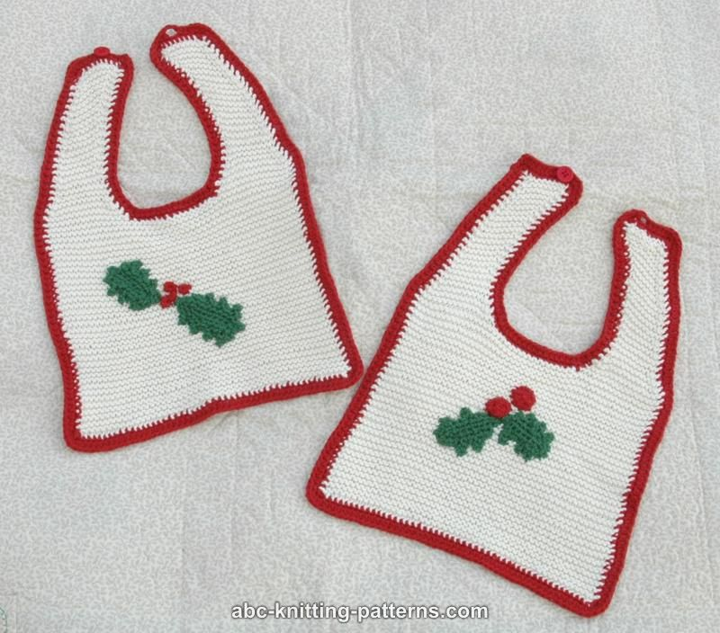 Abc Knitting Patterns Knitted Baby Christmas Bib With Crochet Edging