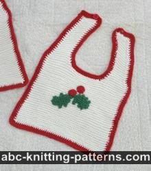 Knitted Baby Christmas Bib with Crochet Edging