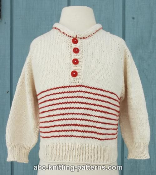Abc Knitting Patterns Raglan Cotton Baby Sweater With Stripes