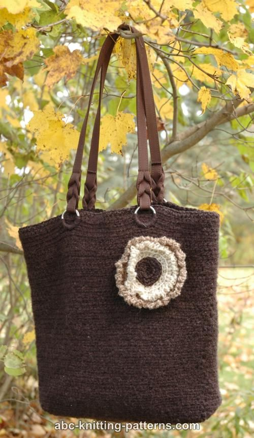 Felted Crochet Bag : ABC Knitting Patterns - Felted Crochet Purse with 3-Color Flower