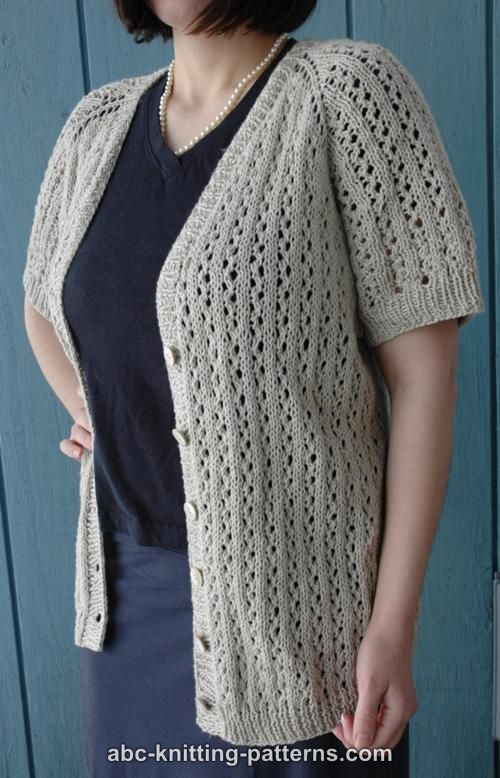 Free Top Down Knitting Patterns : ABC Knitting Patterns - Top-Down Raglan Summer Lace Cardigan