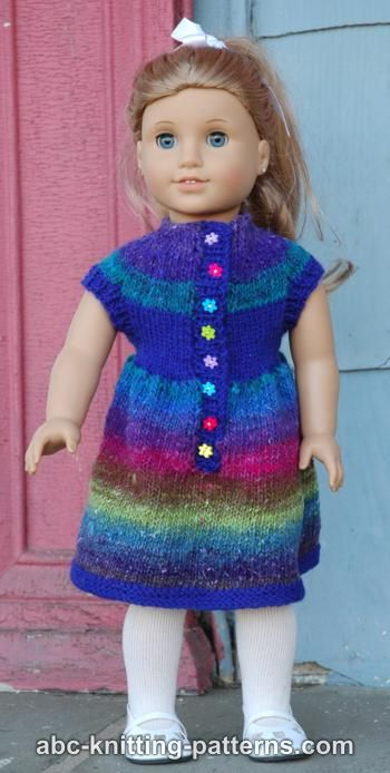 ABC Knitting Patterns - American Girl Doll Round Yoke Dress