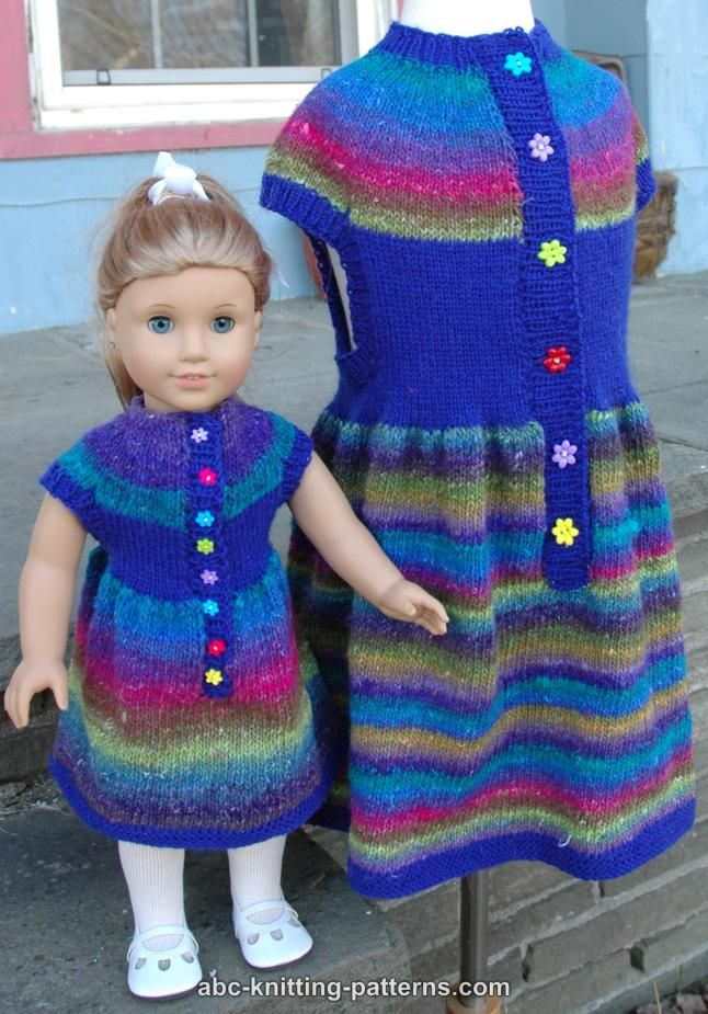 Abc Knitting Patterns For American Doll : ABC Knitting Patterns - American Girl Doll Round Yoke Dress