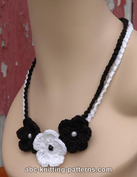 Abc Knitting Patterns Black And White Crochet Flower Necklace