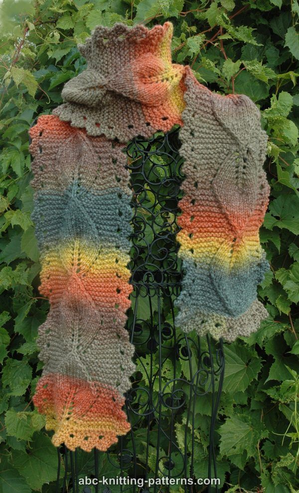 Abc Knitting Patterns Autumn Leaves Scarf