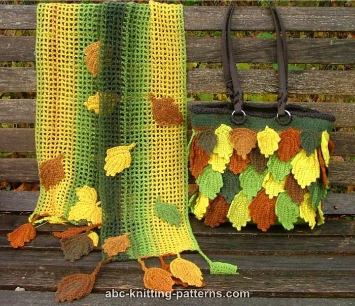 ABC Knitting Patterns - Fall Leaves Scarf
